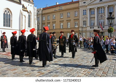 CROATIA ZAGREB, 1 OCTOBER 2017: Changing of the guard, Members of the Cravat Regiment at the entrance of the Croatian Parliament, Zagreb