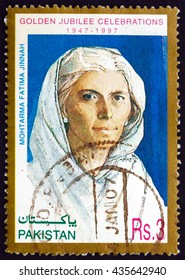 CROATIA ZAGREB, 10 JUNE 2016: a stamp printed in Pakistan shows Mohtarma Fatima Jinnah, Dental Surgeon, Biographer, Stateswoman and One of the Leading Founders of Pakistan, circa 1997