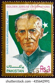 CROATIA ZAGREB, 10 JUNE 2016: a stamp printed in Pakistan shows Mohammad Ali Jinnah, Lawyer, Politician and the Founder of Pakistan, Independence, 50th Anniversary, circa 1997