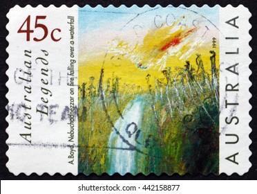 CROATIA ZAGREB, 10 JUNE 2016: a stamp printed in the Australia shows Nebuchadnezzar on Fire Falling over a Waterfall, Painting by Arthur Boyd, circa 1999