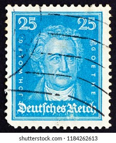 CROATIA ZAGREB, 12 DECEMBER 2011: a stamp printed in the Germany shows Johann Wolfgang von Goethe, Writer and Natural Philosopher, circa 1926