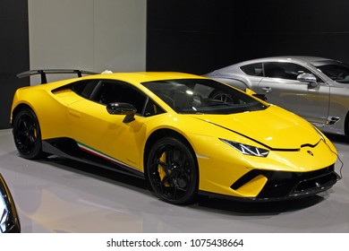 CROATIA ZAGREB, 13 APRIL 2018: view of a yellow Lamborghini Huracan LP640 Performante at Zagreb auto show, Croatia