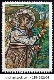 CROATIA ZAGREB, 13 MARCH 2013: a stamp printed in Yugoslavia shows Angel of the Annunciation, Mosaic from Porec, circa 1970