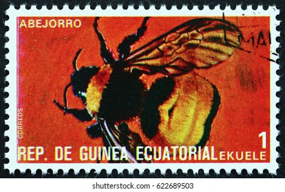 CROATIA ZAGREB, 15 APRIL 2017: a stamp printed in Equatorial Guinea shows Bumblebee, Bombus, Insect, circa 1978