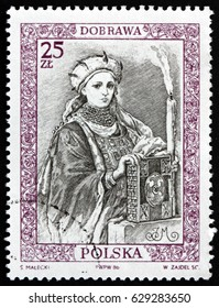CROATIA ZAGREB, 15 APRIL 2017: a stamp printed in Poland dedicated to Dobrawa of Bohemia, was Bohemian Princess and by Marriage Duchess of the Polans, circa 1986