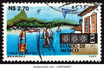 CROATIA ZAGREB, 16 AUGUST 2012: a stamp printed in Mexico shows Valle de Bravo, boats on lake, circa 1997