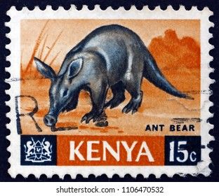 CROATIA ZAGREB, 19 MAY 2018: a stamp printed in Kenya shows Aardvark, Orycteropus Afer, is Nocturnal Mammal Native to Africa, circa 1966