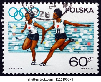 CROATIA ZAGREB, 19 MAY 2018: a stamp printed in Poland shows Women's Relay Race, 19th Olympic Games, Mexico City, circa 1967