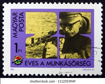 CROATIA ZAGREB, 19 MAY 2018: a stamp printed in Hungary shows Shooting Practice, 25th Anniversary of Worker's Militia, circa 1982