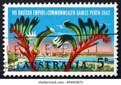 CROATIA ZAGREB, 2 OCTOBER 2016: a stamp printed in Australia shows View of Perth and Kangaroo Paw, British Empire and Commonwealth Games, Perth, circa 1994