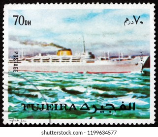 CROATIA ZAGREB, 20 AUGUST 2017: a stamp printed in Fujeira shows passenger ship, circa 1973