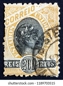 CROATIA ZAGREB, 22 APRIL 2013: a stamp printed in the Brazil shows Liberty Head, Allegory, circa 1894