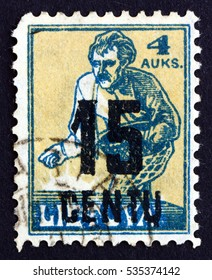 CROATIA ZAGREB, 22 APRIL 2013: a stamp printed in Lithuania shows Sower, circa 1922