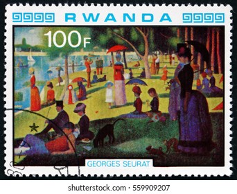 CROATIA ZAGREB, 26 DECEMBER 2016: a stamp printed in Rwanda shows A Sunday Afternoon on the Island of La Grande Jatte, Painting by Georges Seraut, circa 1980