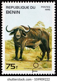 CROATIA ZAGREB, 26 DECEMBER 2016: a stamp printed in Benin shows African Buffalo, Syncerus Caffer, is a Large African Bovine, circa 1995