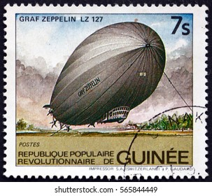 CROATIA ZAGREB, 26 DECEMBER 2016: a stamp printed in Guinea shows Graf Zeppelin LZ 127, Airship, circa 1984