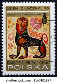CROATIA ZAGREB, 28 JUNE 2018: a stamp printed in Poland shows Sphinx, Design from Corinthian Vases, 7th Century B.C., circa 1976