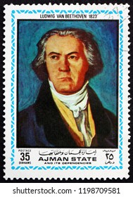 CROATIA ZAGREB, 28 JUNE 2018: a stamp printed in Ajman shows Ludwig van Beethoven, painting from 1823, famous composer, circa 1972