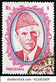CROATIA ZAGREB, 28 MARCH 2016: a stamp printed in Pakistan shows Mohammad Ali Jinnah, Lawyer, Politician and the Founder of Pakistan, circa 1989
