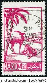 CROATIA ZAGREB, 29 JUNE 2018: a stamp printed in French Morocco shows Scimtar-horned Oryxes, circa 1942