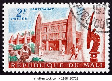 CROATIA ZAGREB, 29 JUNE 2018: a stamp printed in the Mali shows Mali Arts Museum, circa 1961