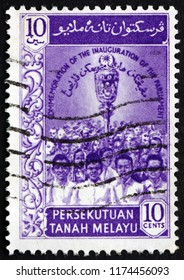 CROATIA ZAGREB, 29 JUNE 2018: a stamp printed in Malaya shows mace and people, 1st Federal parliament of Malaya, inauguration, circa 1959