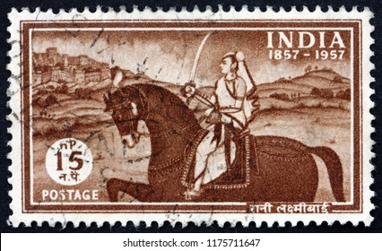 CROATIA ZAGREB, 29 JUNE 2018: a stamp printed in India shows Laxmibai, Rani of Jhansi, Centenary of the struggle for independence, circa 1957