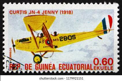 CROATIA ZAGREB, 29 JUNE 2018: a stamp printed in Equatorial Guinea shows Curtis JN 4 Jenny, airplane, circa 1979