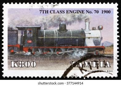 CROATIA ZAGREB, 30 JANUARY 2016: a stamp printed in Zambia shows Locomotive, 7th Class No. 70, circa 1999