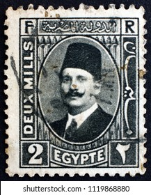 CROATIA ZAGREB, 31 MAY 2018: a stamp printed in Egypt shows King Fuad I of Egypt, circa 1929