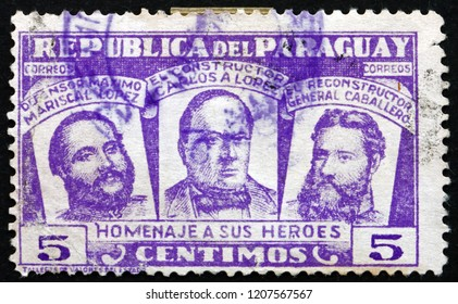 CROATIA ZAGREB, 5 OCTOBER 2014: a stamp printed in Paraguay shows Three National Heroes, Marshal Francisco S. Lopez, President Carlos A. Lopez and General Bernardino Caballero, circa 1954