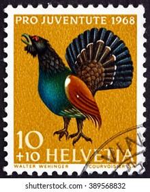 CROATIA ZAGREB, 7 FEBRUARY 2016: a stamp printed in the Switzerland shows Capercaillie, Tetrao Urogallus, Bird, circa 1968