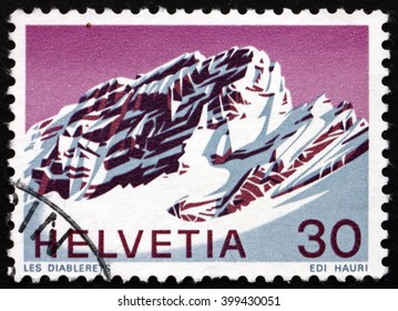 CROATIA ZAGREB, 7 FEBRUARY 2016: a stamp printed in the Switzerland shows View of Les Diablerets, Vaud, Swiss Alps, circa 1971