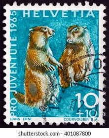 CROATIA ZAGREB, 7 FEBRUARY 2016: a stamp printed in the Switzerland shows Alpine Marmots, Marmota Marmota, Animal, circa 1965