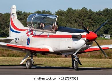 Croatian Air Force Pilatus PC-9 trainer plane taxiing at Kleine-Brogel airbase. Belgium - September 14, 2019