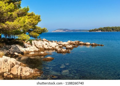 Croatian coast. Sea view from the island of Hvar. Greetings from vacation. Seas and rocks on the coast