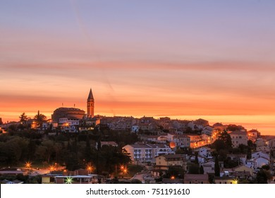 Croatian coast town Vrsar at dawn