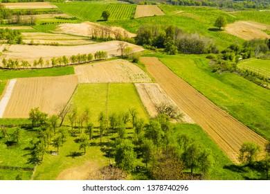Croatian countryside landscape, Daruvar region aerial view, agriculture fields