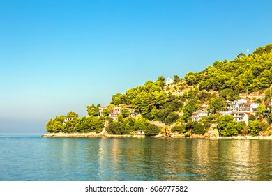Croatian Dalmatian landscape. Tourist attractions and towns of Makarska Riviera. Dalmatia view from the sea side.