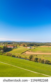 Croatian farmlands in countryside, panoramic view of river Dobra in Novigrad, Karlovac county