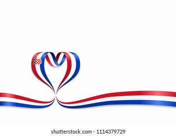 Croatian flag heart-shaped wavy ribbon. Raster version.