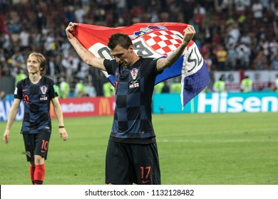 "Croatian footballers Mario Mandzukic and Luka Modric celebrate victory. 1/2 final football match at World cup 2018 between Croatia and England. ""Luzhniki"" stadium, Moscow, 11th of july 2018."