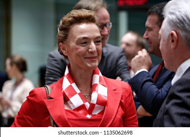 The Croatian Foreign Minister, Marija Pejcinovic Buric attends a European Union foreign ministers meeting in Brussels, Belgium July 16, 2018.