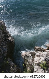 The Croatian furious sea beats against the rocks from above
