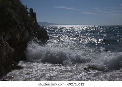 Croatian furious sea beats against the rocks