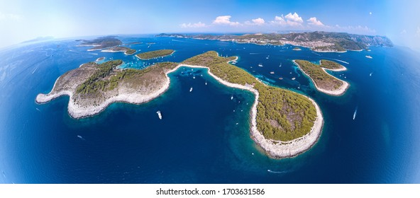 Croatian islands colorful panoramic view