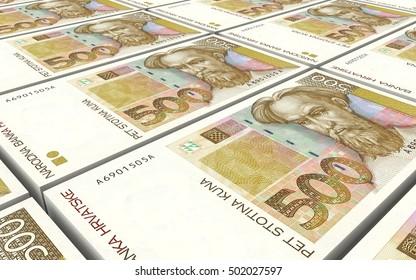Croatian kuna bills stacks background. 3D illustration.
