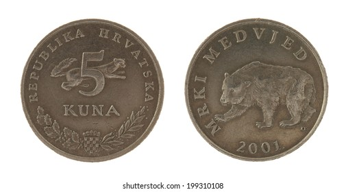 Croatian Kuna coins isolated on white