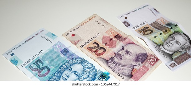 Croatian Kuna, national paper currency. Close up shot of banknotes. Hrvatska Kuna cash money.