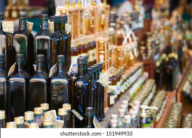 croatian market stall with local olive oil and other goods